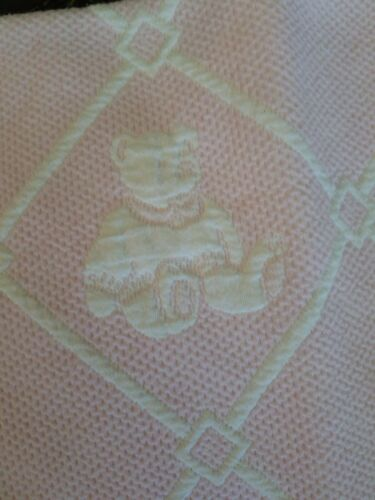 Vintage Wamsutta Waffle Weave Cotton Fabric Baby Bear 43 X 33 gently Pre Owned. - $10.60