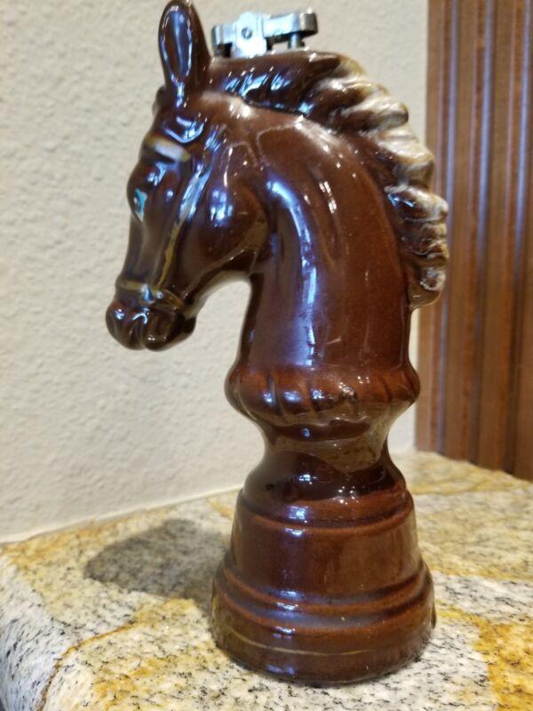 Vintage Chess Piece Horse Head Porcelain Cigarette Lighter