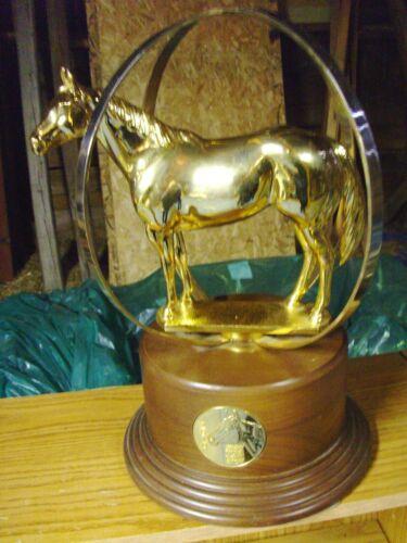 "AQHA world show gold globe horse trophy, 2010, 17"" x 12"""