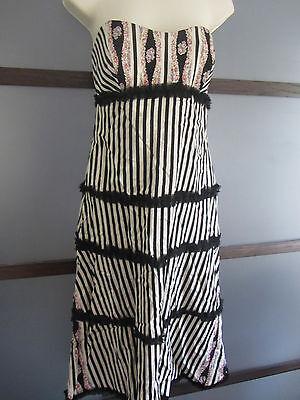 NICOLE MILLER Dress 12 FUN Striped Feathery Ruffle Boning Strapless SILK Empire](Feathery Dresses)
