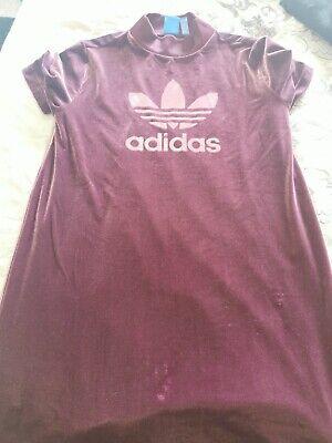 Adidas Ladies Velour Velvet Dress Tunic Brand New Size 14 Maroon Plum Sportswear
