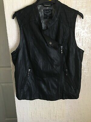 Denim & Co. Faux Leather Sleeveless  Black Jacket Sz 18  2 Zip Pockets Side Zip