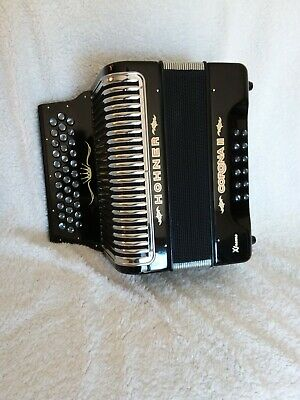 Hohner Button Accordion Corona II XTREME GCF, With Bag And Straps, Jet Black