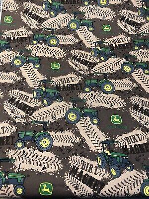 John Deere Tractor 100% cotton fabric sold by the yard CP64096 Dirt Tracks  (John Deere Drapes)