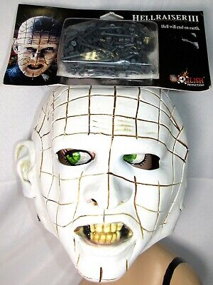 Pinhead Halloween Mask (HELLRAISER III PINHEAD Mask Head Adult Horror Ghoulish Halloween Costume)