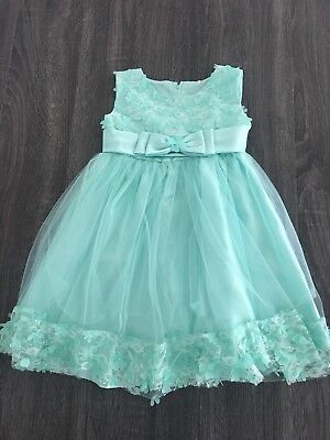 Flower Girl Dress Wedding Bridesmaid Birthday  Formal Toddler Size 6 Turquoise (Turquoise Flower Girl Dress)