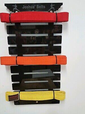 Personalised Martial Arts 10 Belts Hanger Holder Display Rack karate taekwondo