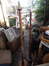 2 turned wooden floor lamps carved timber lights Joyner Pine Rivers Area Preview