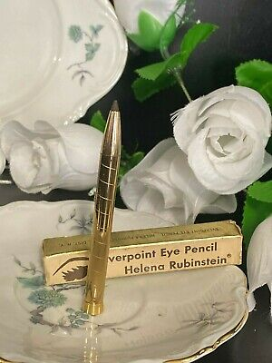 VINTAGE HELENA RUBINSTEIN EYE EVERPOINT  GOLD METAL EYE PENCIL DARK BROWN  NEW