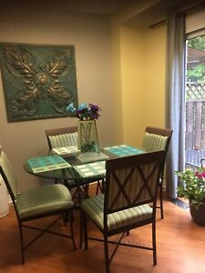 Glass & Wrought Iron table and chairs