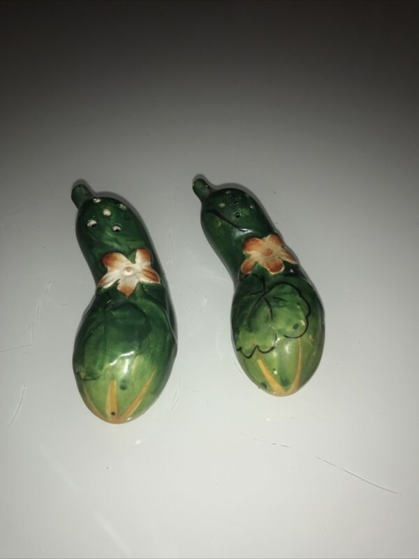 Squash with Flowers Salt and Pepper Shakers made in Japan Vintage