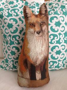 Primitive Red Fox Pillow Doll Toy Home Decor Wild Animal Fox Litho Pillow Prim Ebay