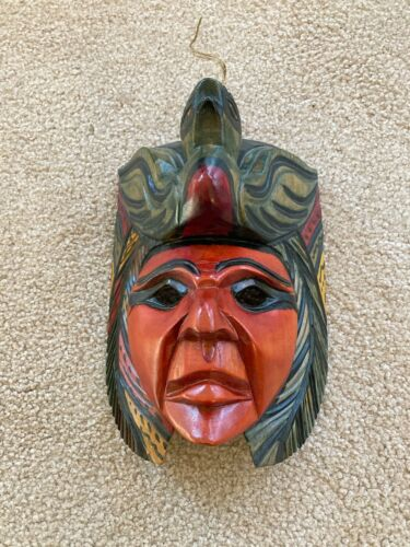 Hand Carved & Painted Wood Human Face Mask Folk Wall Art Guatemala Well Done!