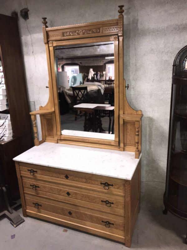 Antique Eastlake Birdseye maple Marble Top Dresser W/mirror exquisite carvings