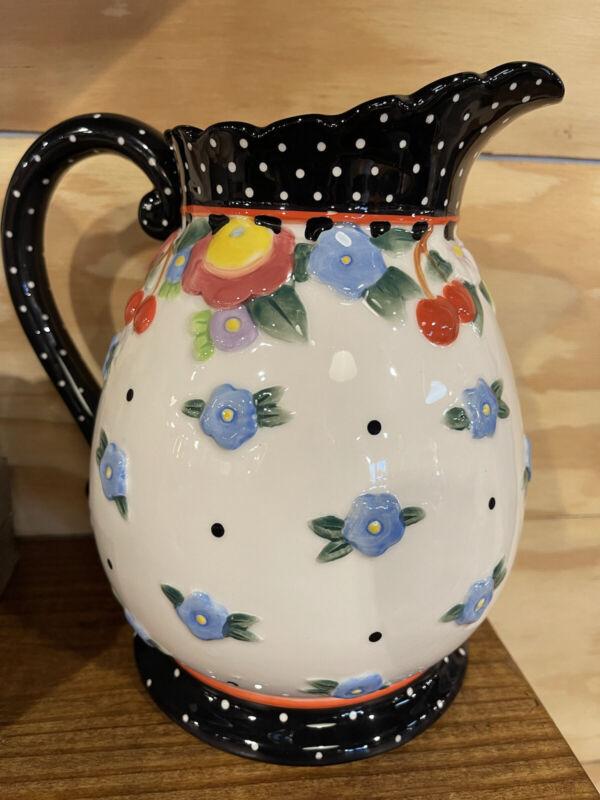 mary engelbreit ceramic pitcher oh so breit rare 8 inch collectible