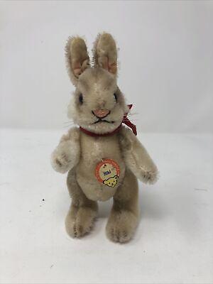 1950's Vintage Mohair Steiff Stuffed Bunny Rabbit Niki Fully Jointed - Chest Tag