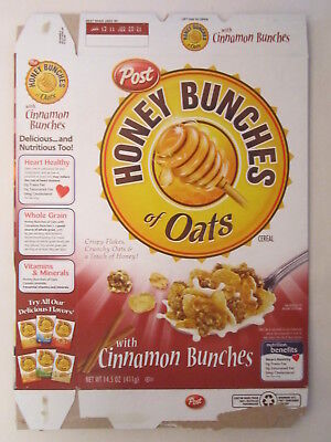 Empty POST Cereal Box HONEY BUNCHES OF OATS 2010 14.5 oz CINNAMON BUNCH [G7C5x] - Honey Bunches Of Oats Cinnamon