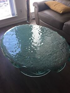 Melted glass sofa table  and two end  tables