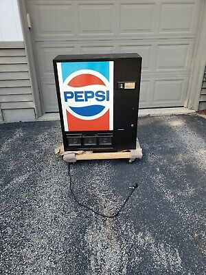 Vintage Tabletop Pepsi Machine Full Size Can Dispenser w/Locking Cabinet Stand