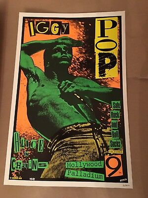 IGGY POP ALICE IN CHAINS 1990 ORIGINAL Poster KOZIK Signed MINT