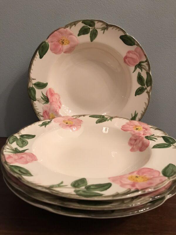 """Lot of 4 Franciscan Desert Rose 8 1/2"""" Rimmed Soup Bowls Vintage"""