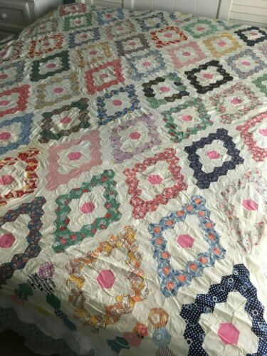 THE BEST Large Vintage 30s Feedsacks  QUILT TOP 96