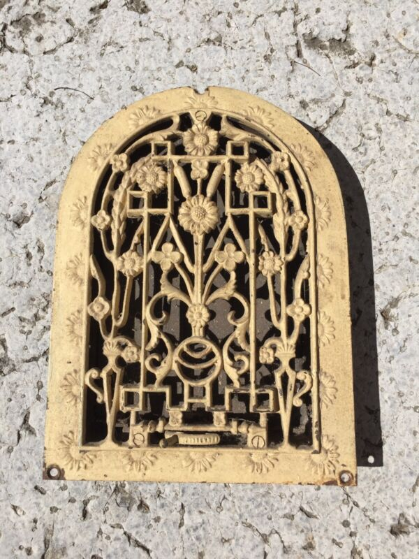 Antique Cast Iron Arch Top Victorian Dome Heat Grate Wall Register