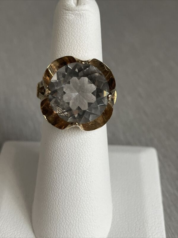 Clark and Coombs Vintage Art Deco 10 K Gold filled large faceted stone #e33