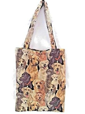 TOTE BAG  TAPESTRY   DOG THEMED              SIZE 12 X 16.5 IN.  (Dogs Lined Tapestry Tote Bag)