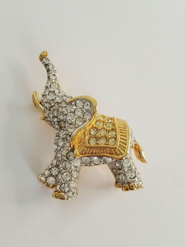 Swarovski Brand Swan Logo Gold Plated Crystal Elephant Brooch