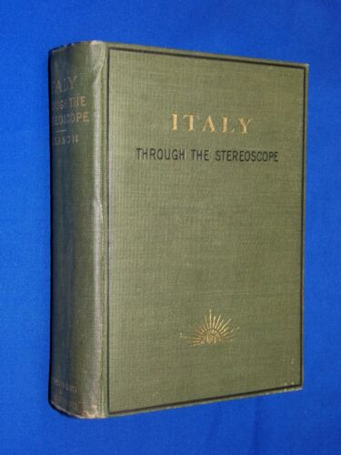 Antique 1903 Italy Through Stereoscope Book Stereoview Underwood 100 Card Set