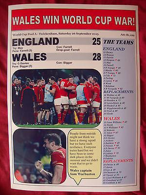 England 25 Wales 28 - 2015 World Cup - souvenir print