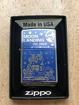 Genuine Zippo Lighter MOON LANDING Design Blue And Silver Exclusive Brand New