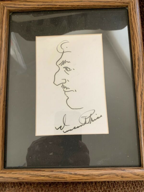 Vincent Price Orignsl Signed Art Portrait Framed