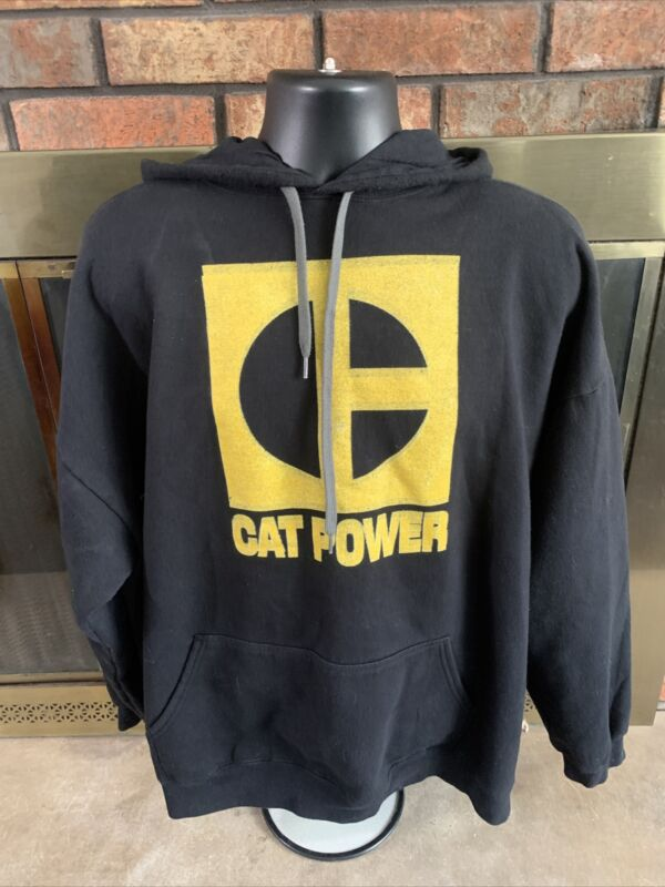 Cat Catipillar Power Hooded Hoodie Sweatshirt Mens Size XXXL Black Yellow
