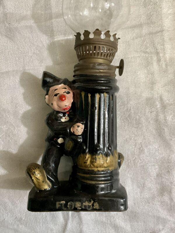 Mini OIL Lamp Vintage Drunk & Lamp Post Porcelain Made IN Japan Never Used Rare