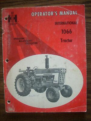 Ih Farmall Mccormick International 1066 Owners Manual