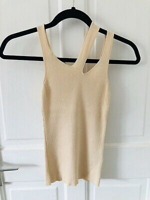 Zara Ribbed Knit Size M Cream Top New