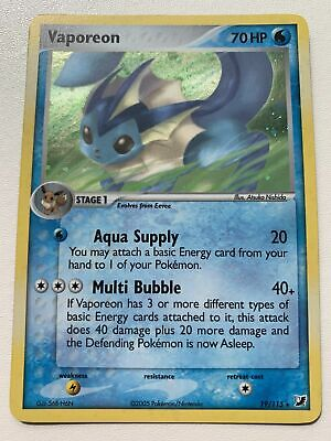 Vaporeon 19/115 Holo EX Unseen Forces NM/M Mint Pokemon Card