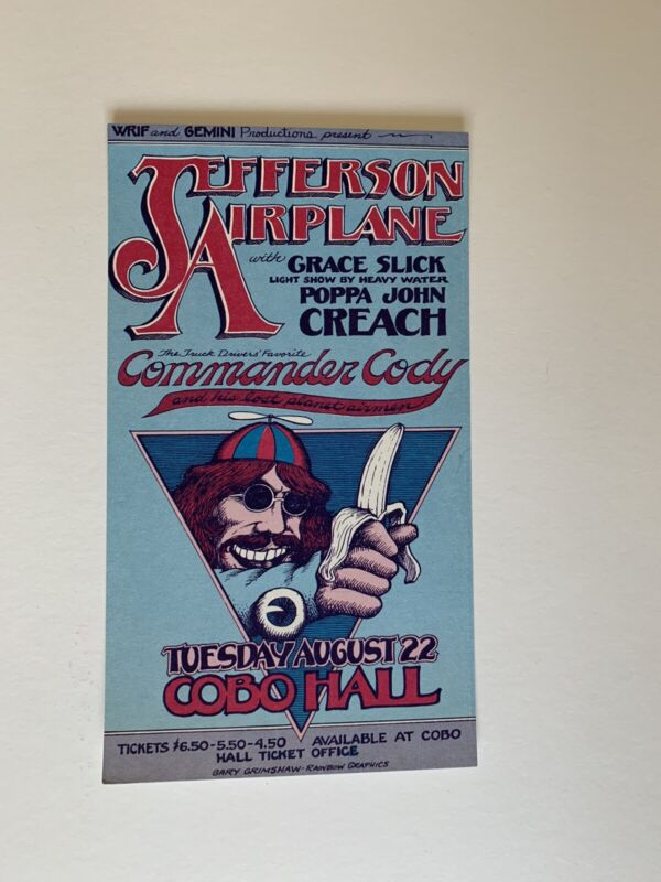Jefferson Airplane with Grace Slick Handbill Aug 22,1972 at Cobo Hall Detroit