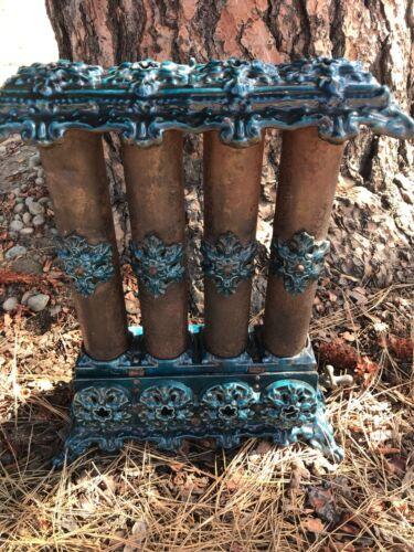 Antique Victorian Heater Blue Porcelain on Cast Iron Gas Radiator Beautiful