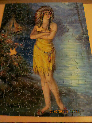 Vintage Perfect Picture Puzzle Moonbeam's Princess Amer. Indian Frank Harper -2