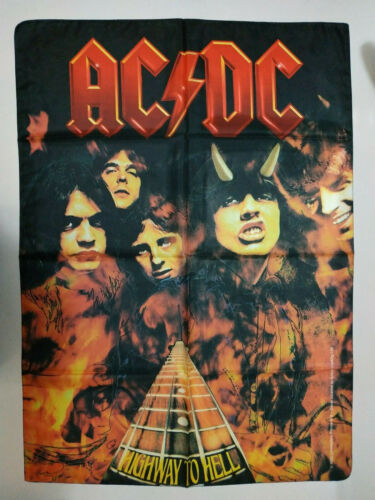 Vintage   AC/DC    Unused   2005 TEXTILE POSTER FLAG    heavy metal ACDC band