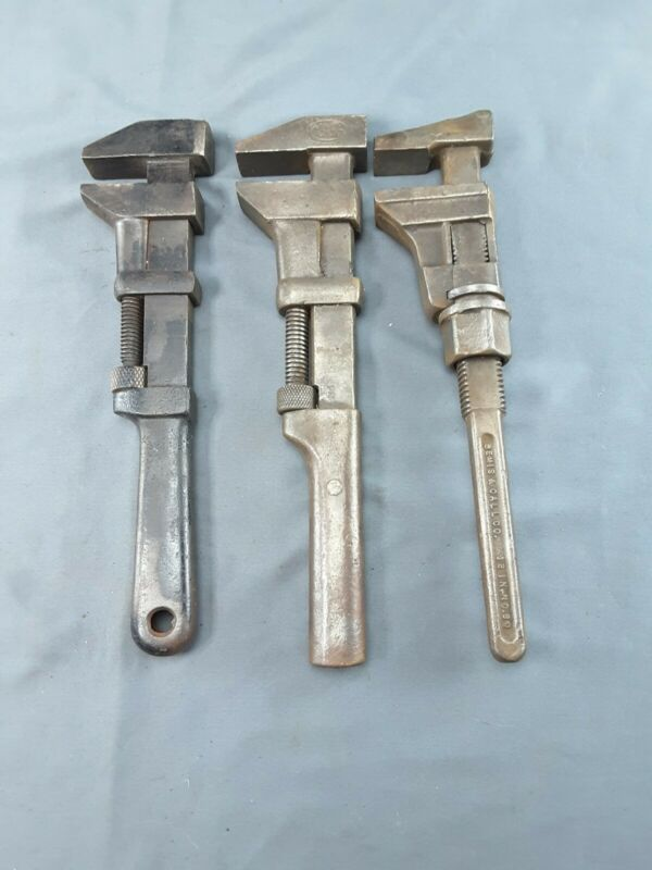 """Three Vintage 12"""" All-metal Pipe wrench Collectible Tools ~ 3"""