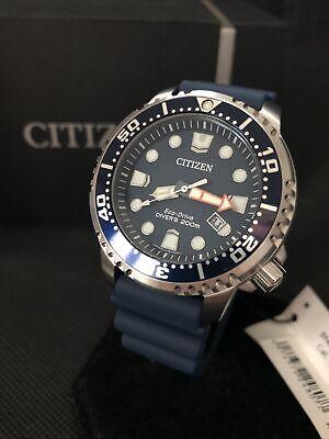 Men's Citizen Eco-Drive Promaster Diver Date Blue Rubber Strap Watch BN0151-17L