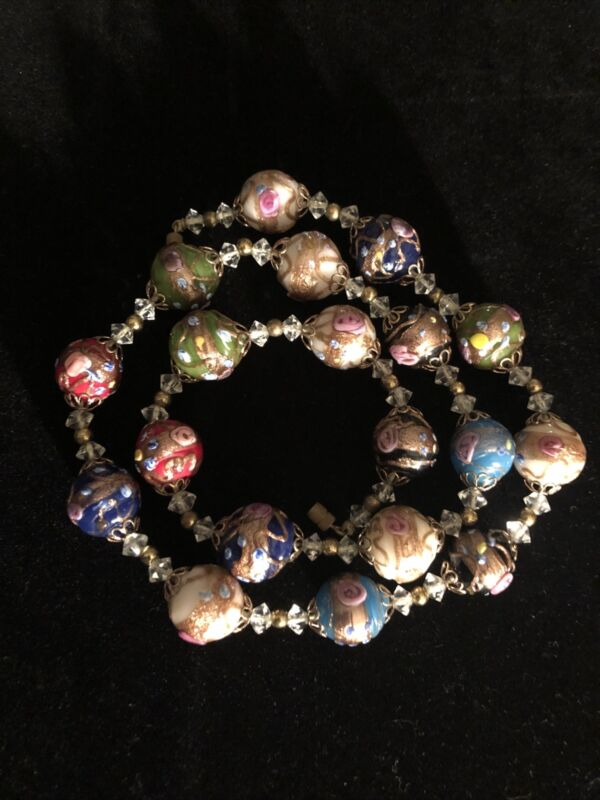 Wedding Cake Glass 24 Inch Vintage Necklace