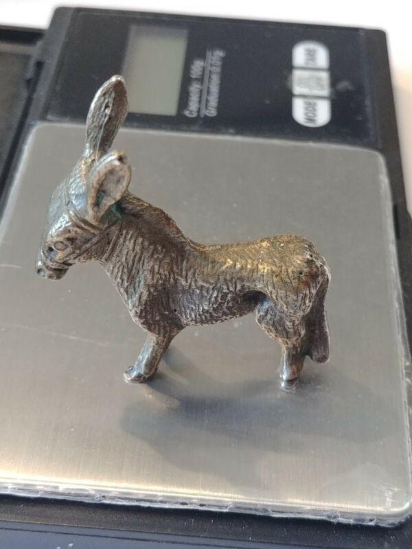 Vintage 800 Silver Italian? Donkey Statue Figurine 31 Grams