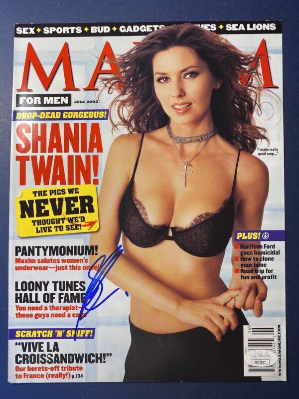 SHANIA TWAIN SIGNED JSA CERTED SEXY MAGAZINE MAXIM COVER