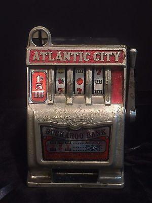 """Vintage Atlantic City Buckaroo Bank Mechanical Toy """"Slot Machine"""" Bank"""