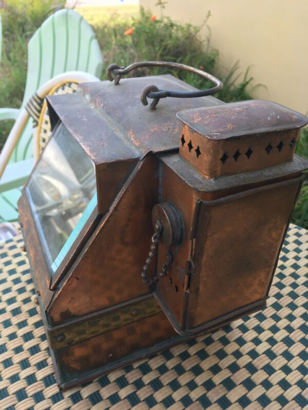 Vintage Navy / Ship Copper Binacle Compass Wick Lantern